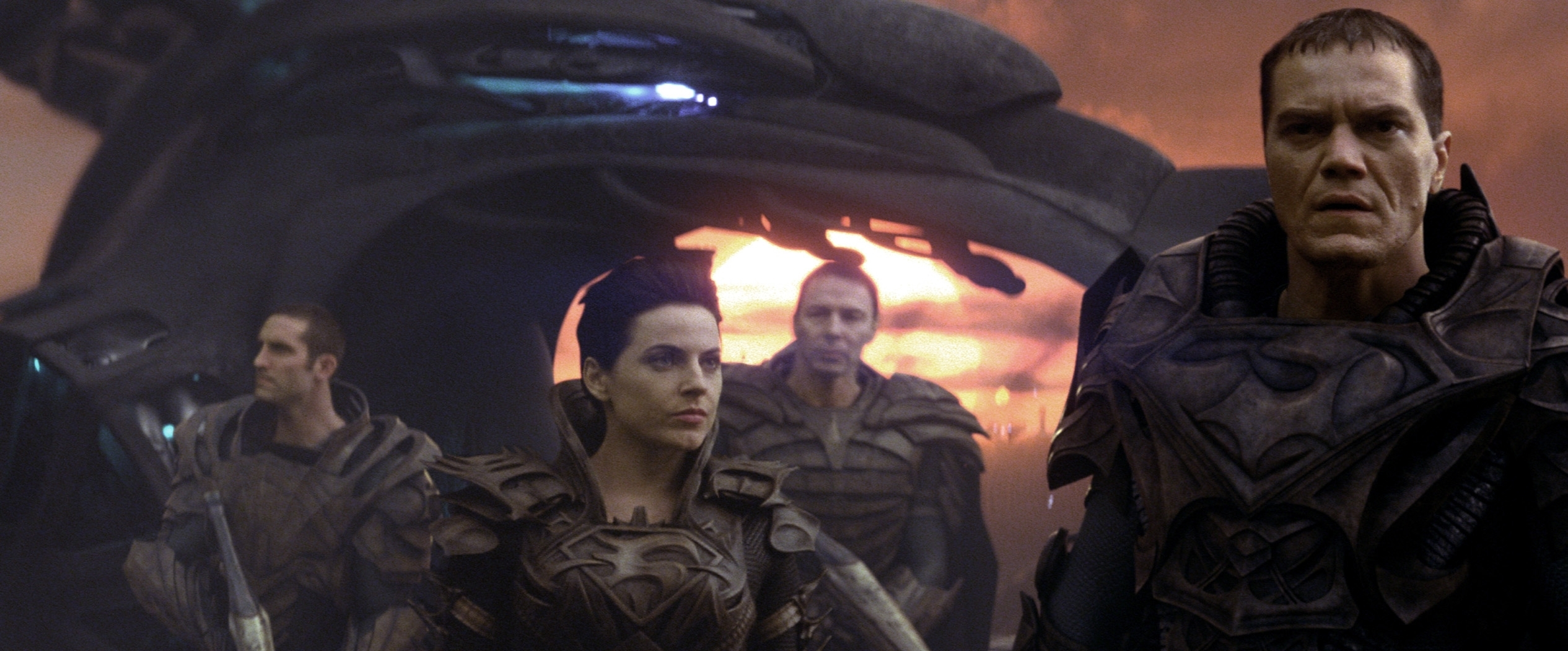 ... and the fallout from the long-ago space-opera insurrection that landed Krypton's General Zod (Michael Shannon, right, with Antje Traue) and his rebels in the Phantom Zone.