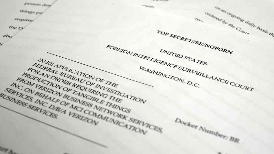 A copy of the U.S. Foreign Intelligence Surveillance Court order requiring Verizon to give the National Security Agency information about calls in its systems, both within the U.S. and between the U.S. and other cou