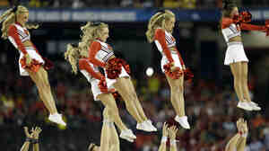 University of Louisville cheerleaders hurled into the air during the first half of the NCAA Final Four tournament college basketball semifinal game against Wichita State in April.