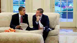 President Obama meets with speechwriter Jon Favreau in the Oval Office in 2009.