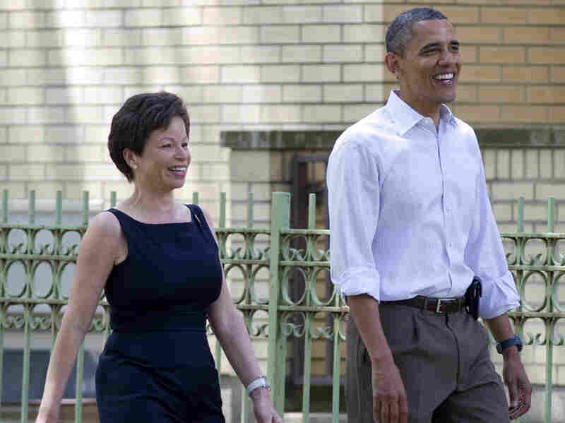 President Obama walks through his Hyde Park neighborhood in Chicago with senior adviser Valerie Jarrett in 2012.