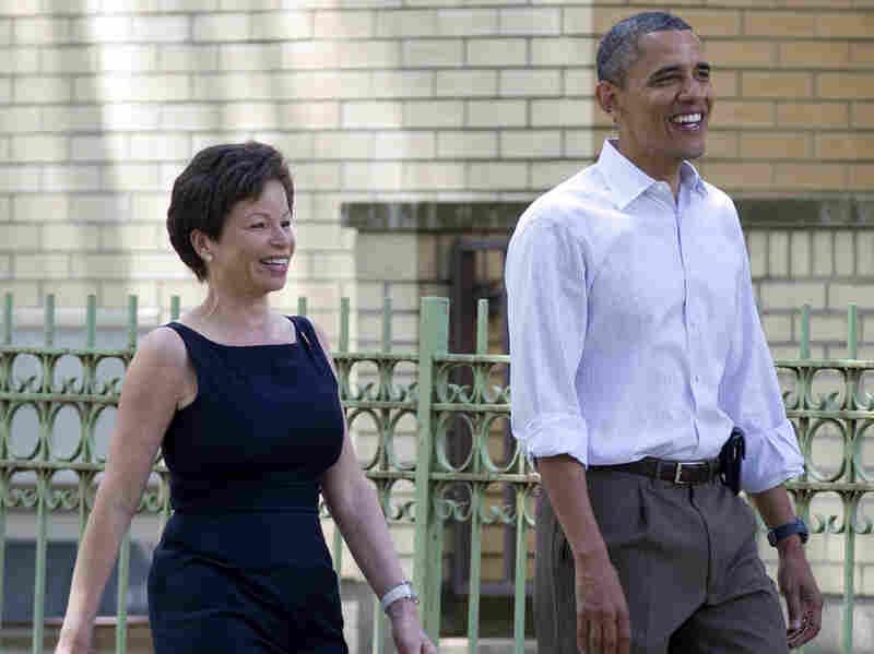 President Obama walks through his Hyde Park neighborhood in Chicago with senior adviser Valerie Jarrett in 2012.