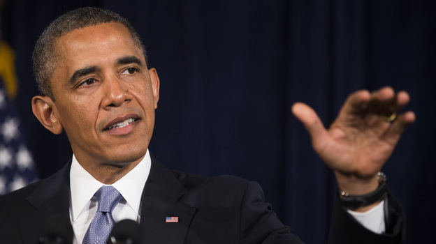 President Obama encourages people to sign up for health insurance exchanges in San Jose, Calif., on June 6. (Getty Images)