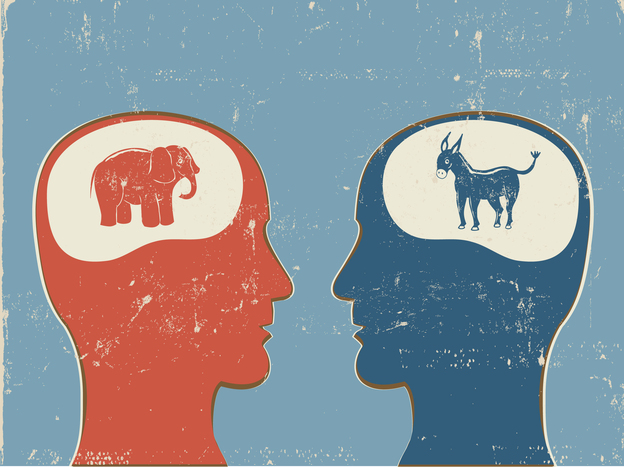 Sign of the times: A recent study found that people are more likely to have hostile feelings toward people of another political party than members of another race.