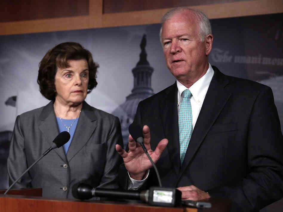 Sens. Saxby Chambliss, R-Ga., and Dianne Feinstein, D-Calif., speak to the media about the controversial Nationa