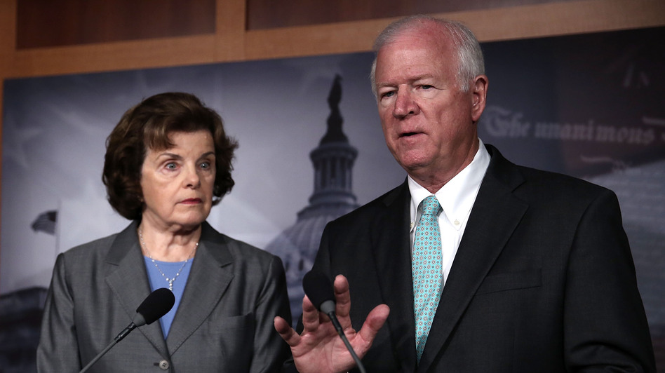 Sens. Saxby Chambliss, R-Ga., and Dianne Feinstein, D-Calif., speak to the media about the controversial National Security Agency programs. (Getty Images)