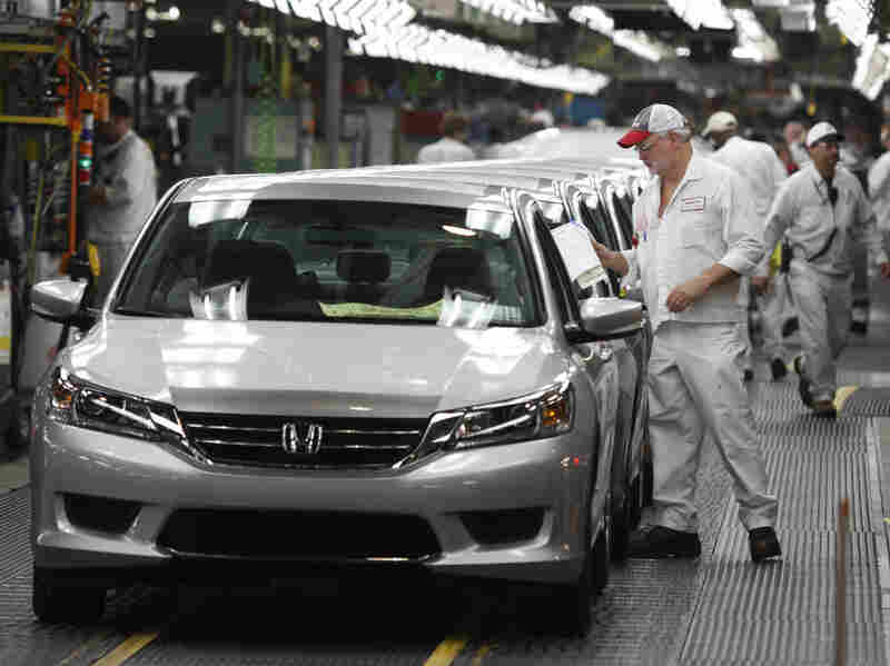A 2013 Accord is ready to come off the line at the Honda automobile plant in Marysville, Ohio, in 2012. Accords