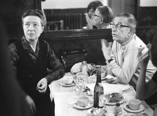 A rare moment of gender parity in philosophy: Simone de Beauvoir and Jean-Paul Sartre at a Paris cafe in May 1970.