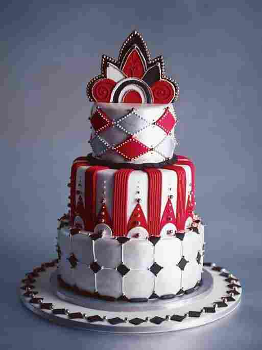 """The """"Deco-Licious"""" cake as pictured in Cakes To Dream On."""