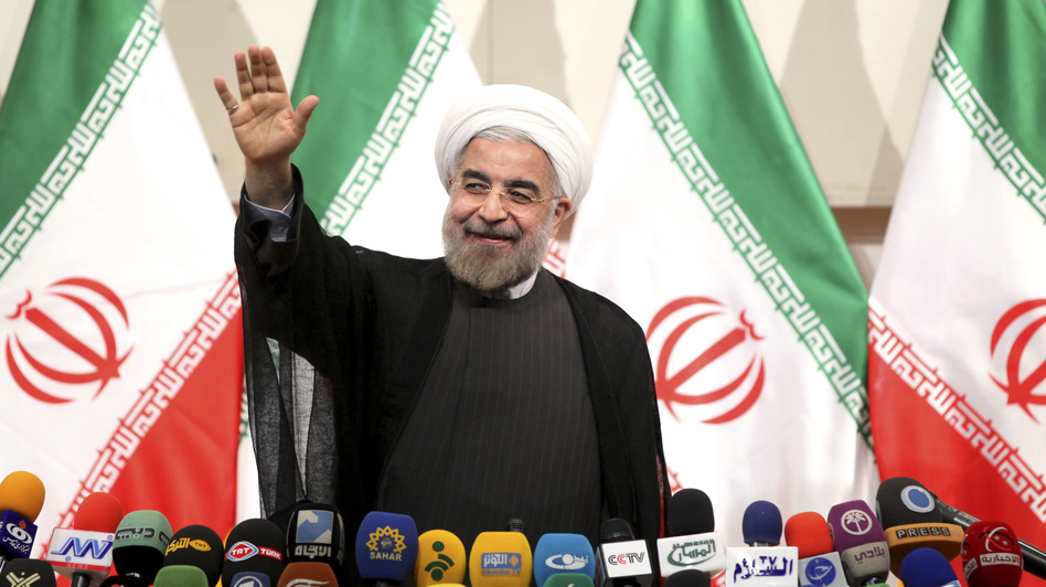 Iran's newly elected president, Hasan Rowhani, gave a news conference in the capital Tehran on Monday. He said he would pursue a path of moderation. (AP)