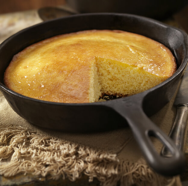 Cornbread in a cast-iron skillet. A taste of home?