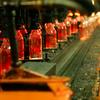 New Snapple bottles right off the line in Salem, NJ.