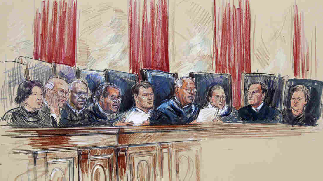 This artist rendering shows Supreme Court Justices (from left) Sonia Sotomayor, Stephen Breyer, Clarence Thomas, Antonin Scalia
