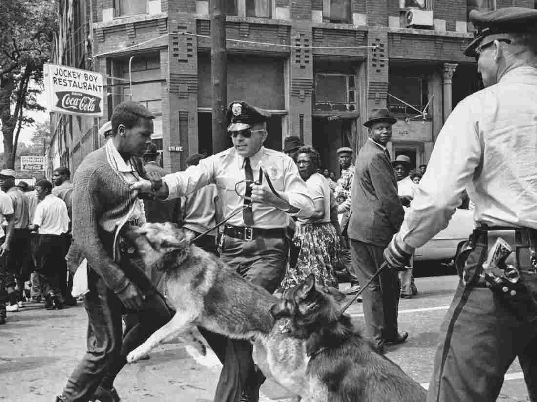 A 17-year-old Civil Rights demonstrator is attacked by a police dog in Birmingham, Ala., on May 3, 1963. This image led the front page of the next day's New York Times.