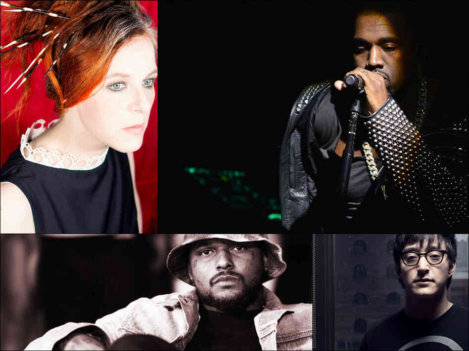 Clockwise from upper left: Neko Case, Kanye West, Shigeto, Schoolboy Q