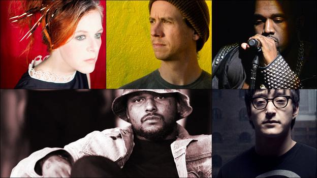 Clockwise from upper left: Neko Case, Kanye West, Shigeto, Schoolboy Q (Courtesy of the artists)