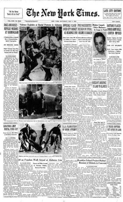 The New York Times' front page on May 4, 1963.
