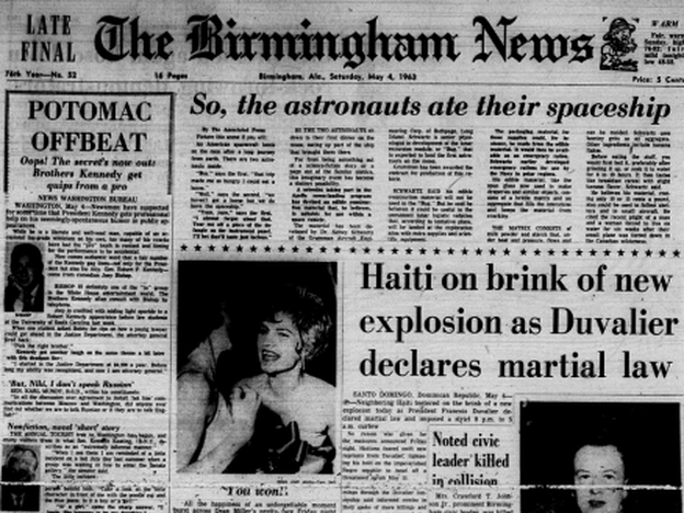 The <em>Birmingham News' </em>front page<em> </em>on May 4, 1963.