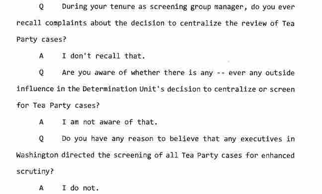 Excerpt from a transcript of an interview between congressional investigators and a screening group manager in the IRS Cincinnati field office.