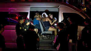 Prostitutes arrested in Guatemala City in 2012, as part of an operation against human trafficking.