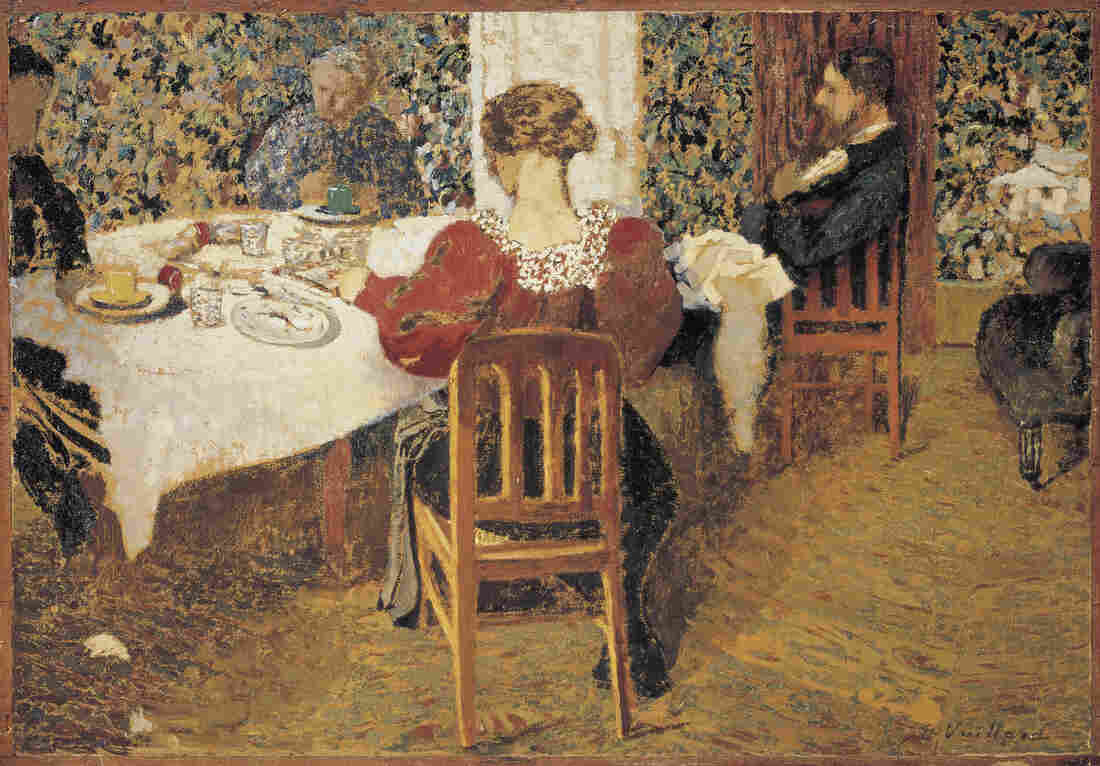 A table (Le Dejeuner), an 1892 oil painting by Edouard Vuillard, appears to show a quiet domestic scene. But Isabelle Cahn, the curator of a new show at the Musee d'Orsay, says this painting actually depicts a scandal-ridden household.