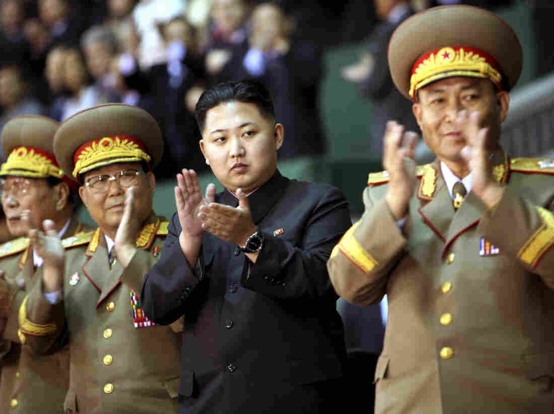 Kim Jong Un (center) watched a performance celebrating the anniversary of the Workers' Party of Korea, in Pyongyang, North Korea.