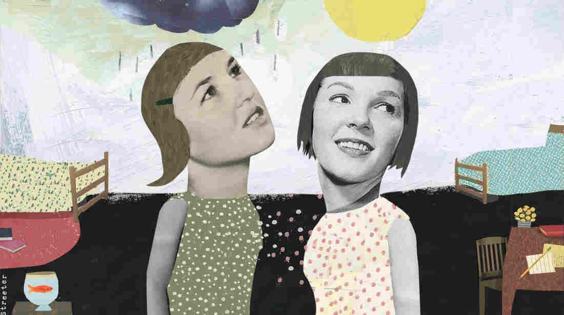 Illustration of roommates, one gloomy, one cheery.