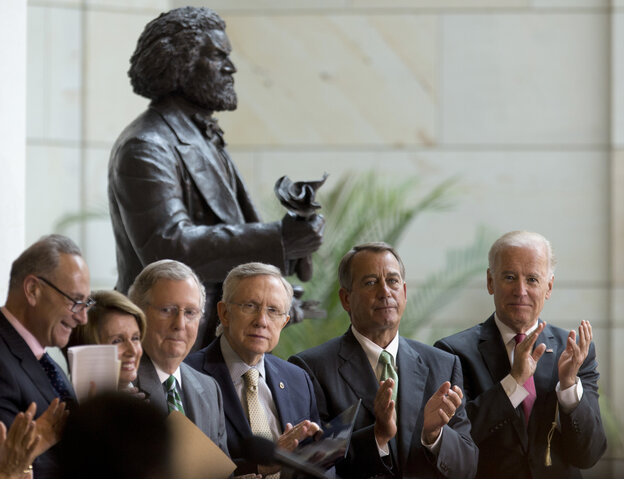 Vice President Biden joined congressional leaders at the Capitol Hill dedication ceremony for a statue of abolitionist Frederick Douglass.