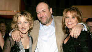 Actor James Gandolfini has died while on a trip to Italy. He's seen here with Sopranos co-stars Edie Falco, left, and Lorraine Bracco.