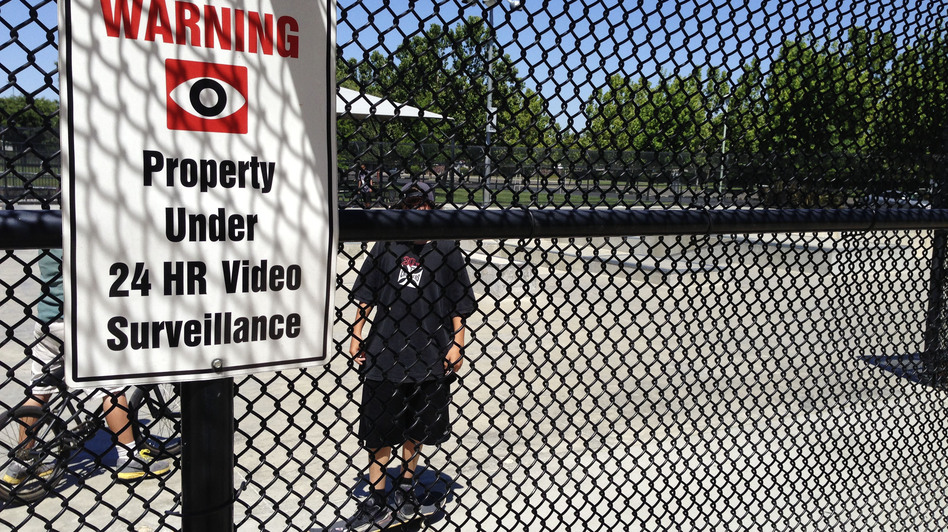 More than 30 parks in Elk Grove are under constant video surveillance, including this skate park at the city's Wackford Community Center. (NPR)