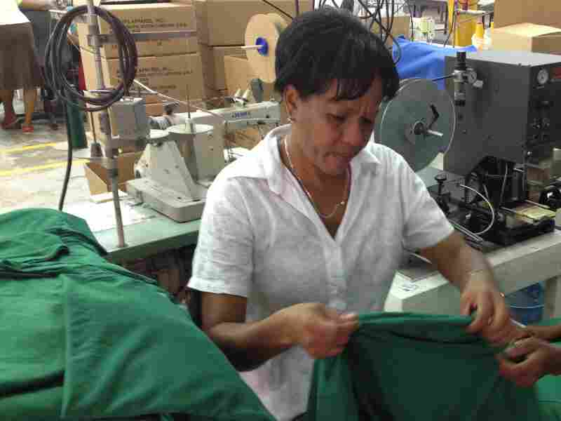"""Maritza Vargas heads the factory's union. """"There is a quote that reads, 'From nice dreams, you wake early,' """" she says. """"But we don't think like that at Alta Gracia."""""""