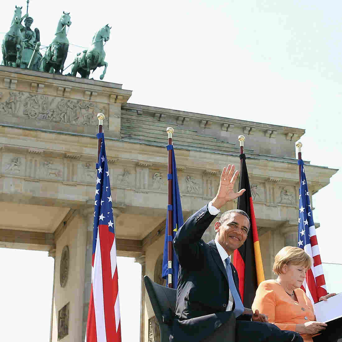 President Obama and German Chancellor Angela Merkel arrive to speak at the Brandenburg Gate in Berlin on Wednesday.