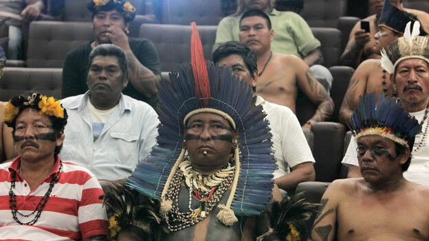 Indigenous leaders from Brazil's Terena tribe attend a meeting with government officials in the capital, Brasilia, on June 6. Brazil's Indians have been demanding greater land rights and are increasingly coming into conflict with large ranchers and farmers.
