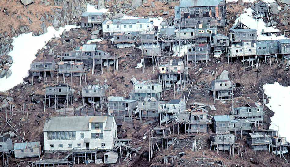 Seen here in 1978, Ukivok, the stilt village on Alaska's King Island, was abandoned after its only school closed in 1959.