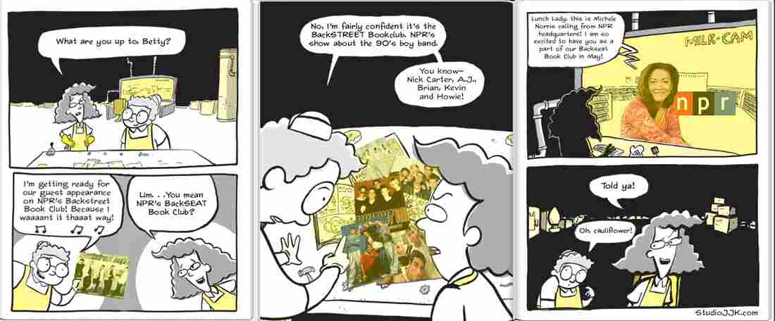 Illustration by author Jarrett Krosoczka, whose graphic novel series Lunch Lady was Backseat Book Club's May 2013 pick.