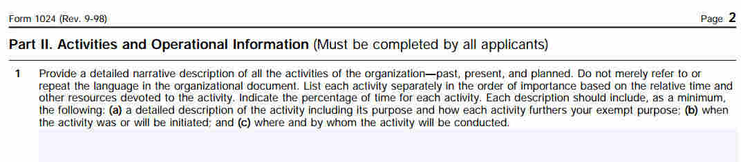 Application for Recognition of Exemption Under Section 501(a)