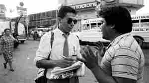 Reporter and author Alfredo Corchado covers a political rally in the border city of Ciudad Juarez, Mexico, in 1986.
