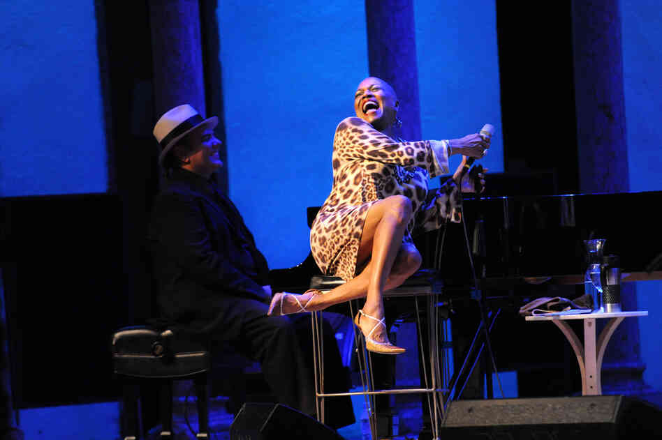 Dee Dee Bridgewater (right) smiles big with pianist Edsel Gomez.