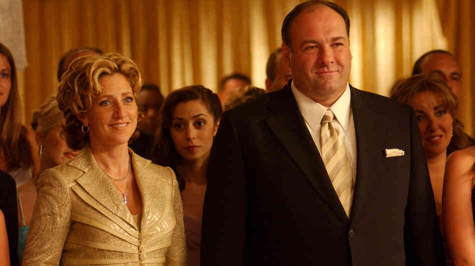 James Gandolfini as Tony Soprano and Edie Falco as his wife, Carmella, in a scene from The Sopranos. Gandolfini died of cardiac arrest in Italy, according to reports citing a doctor at t