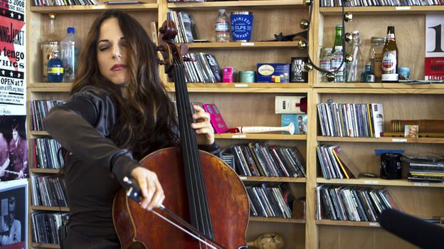 Maya Beiser performs a Tiny Desk Concert on April 9, 2013. (NPR)