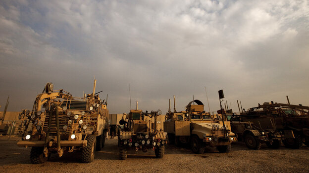 Mine-resistant, ambush-protected vehicles — MRAPs — like these are some of the more than $7 billion in equipment the U.S. Army is dismantling and selling as