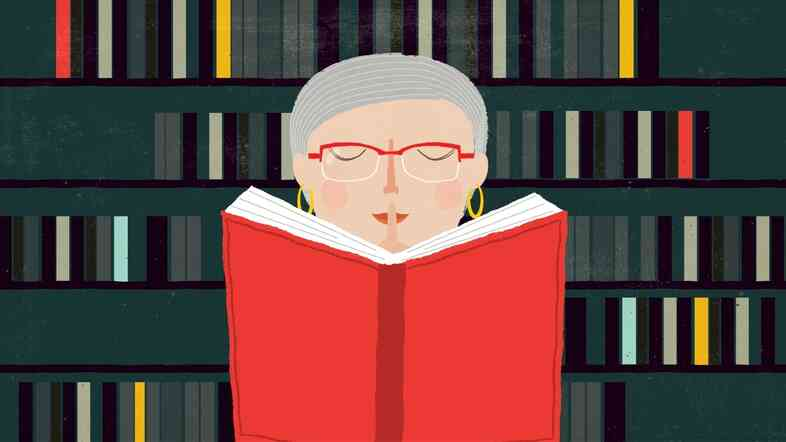 Illustration: Nancy Pearl with a book