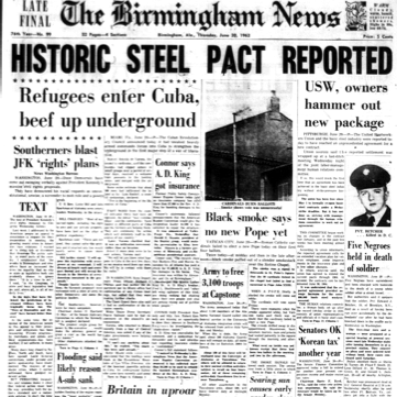 The front page of the Birmingham News on June 20, 1963.