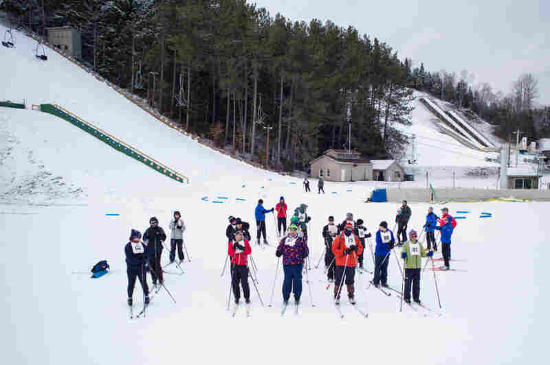 Special Olympics training, Lake Placid, N.Y., the venue for the 1980 Winter Olympics.