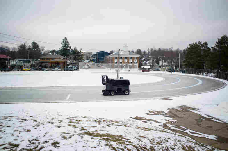 Oval, Zamboni and Town Hall, Lake Placid, N.Y.