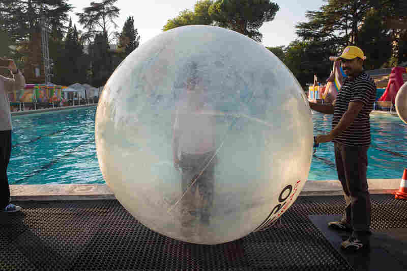 Bubble boy, Roses Swimming Pool, Rome. Site of water polo preliminaries during the 1960 games.