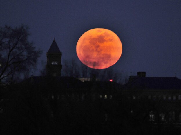 """A """"supermoon"""" rises in Washington, D.C., on March 19, 2011."""