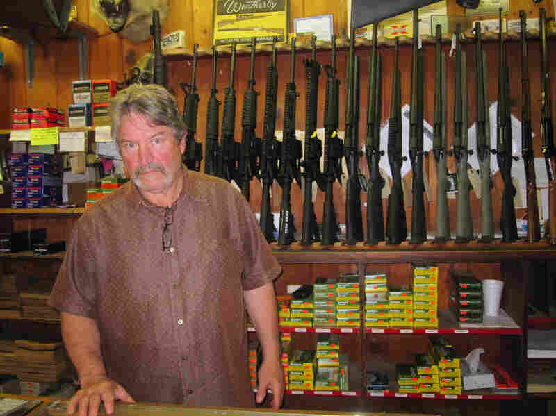"""""""We've always sold more guns when Democrats are in office than we ever sell when Republicans [are] in office,"""" says Mitch May, the general manager at Clark Brothers Gun Shop in Warrenton, Va."""