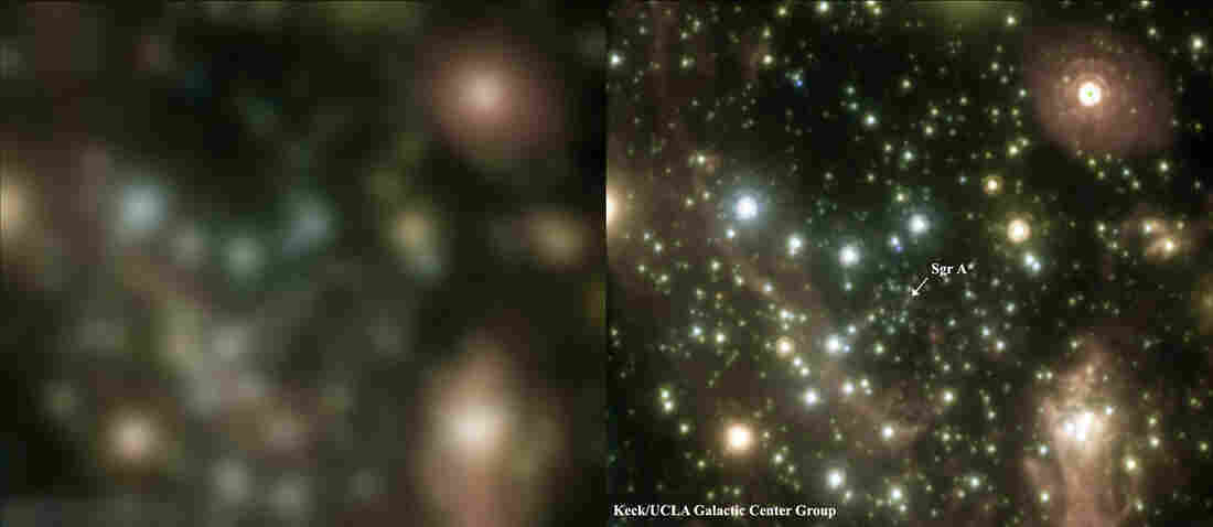 This pair of images of the Galactic Center, the rotational center of the Milky Way galaxy, shows how adaptive optics technology can sharpen a telescope's view.