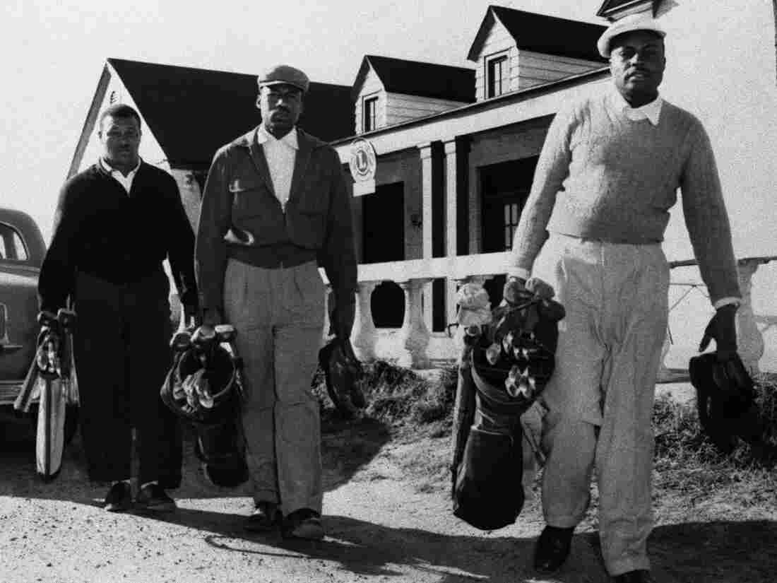 Three men are denied access to a golf course in Columbus, Ohio, in January 1956. Blacks were regularly denied access to golf courses.